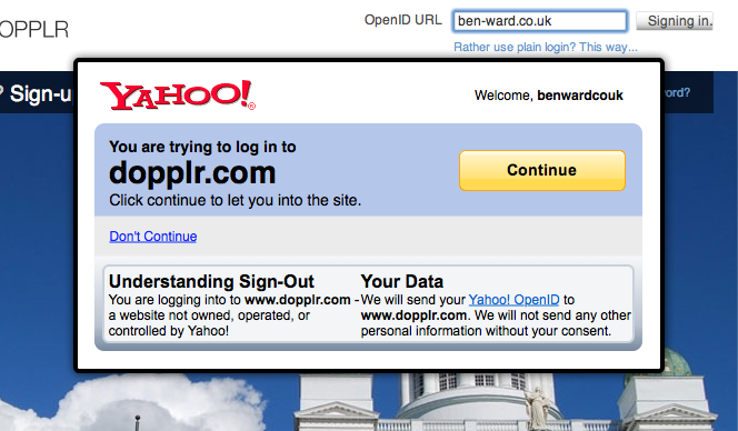 A simple Yahoo! dialog overlaying the Dopplr website, asking the user to confirm they wish to log in. The surrounding UI for the current Yahoo! Open ID page is retained in this example.