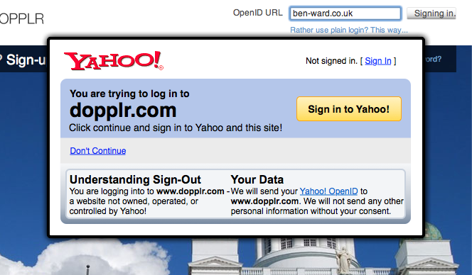 The same Yahoo! dialog is overlayed on Dopplr, but this time telling the user they are not logged in, and need to sign in to Yahoo! before they can sign in to Dopplr.