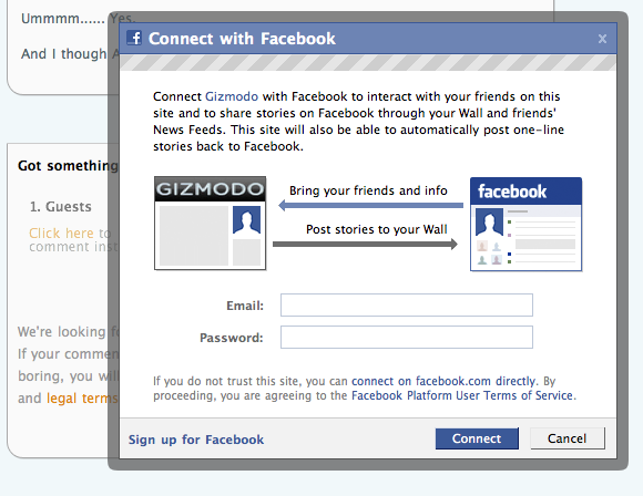 A Facebook dialog within the Gawker page, prompting for a Facebook username and password.